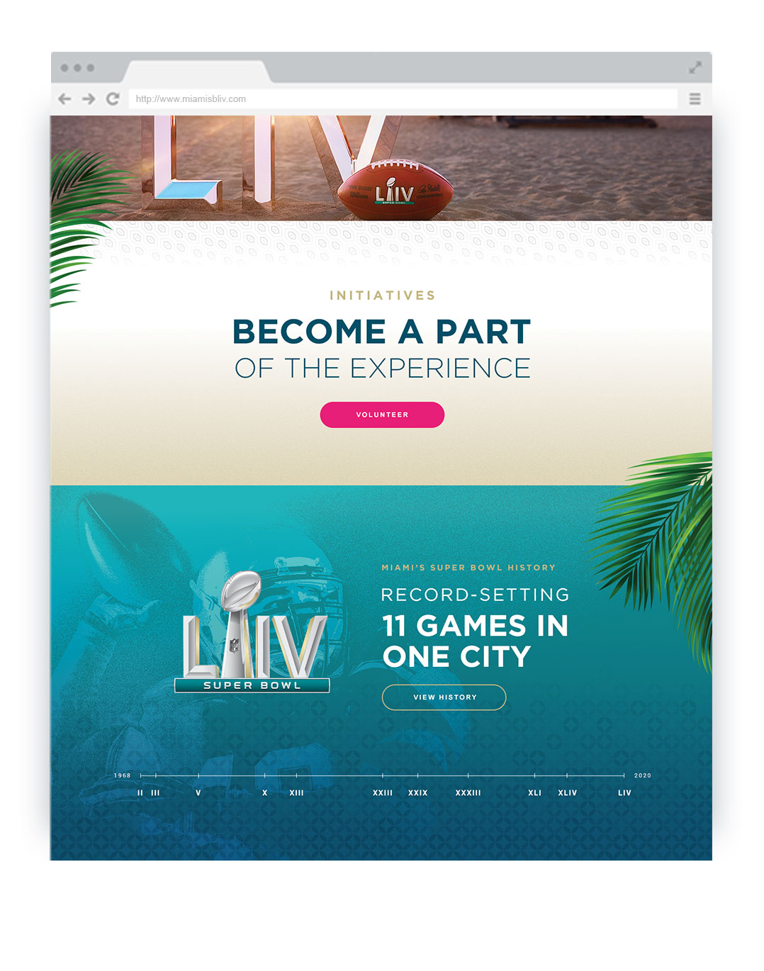 SuperBowl Layout of the home Page Section 2